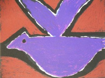 Josef Herman; ' Purple Bird' limited edition 2/5